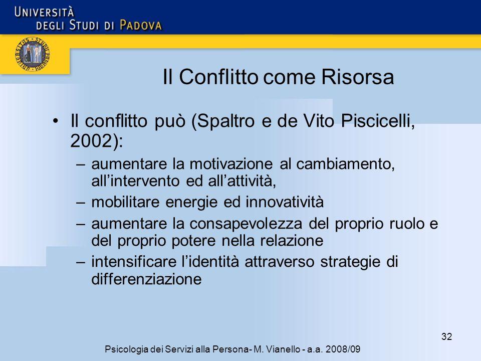 32 Psicologia dei Servizi alla Persona- M. Vianello - a.a. 2008/09 Il Conflitto come Risorsa Il conflitto può (Spaltro e de Vito Piscicelli, 2002): –a