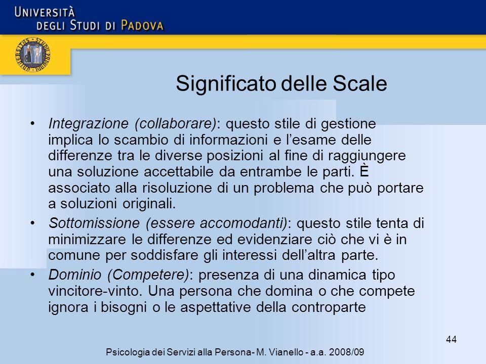 44 Psicologia dei Servizi alla Persona- M. Vianello - a.a. 2008/09 Significato delle Scale Integrazione (collaborare): questo stile di gestione implic