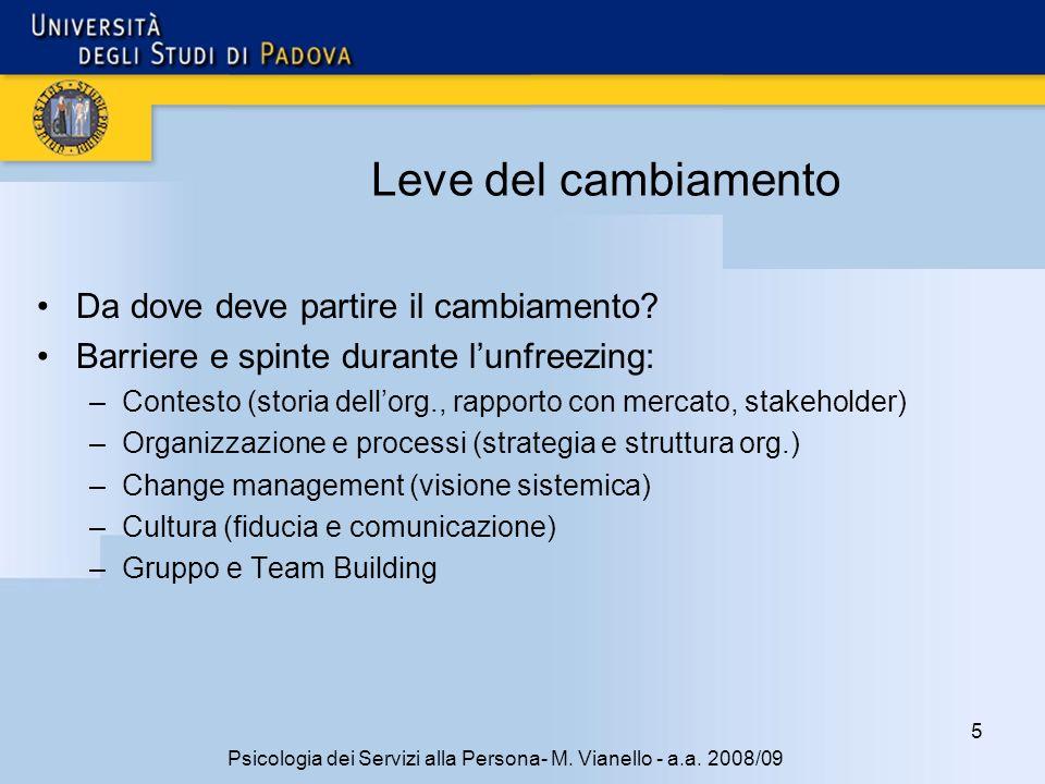 5 Psicologia dei Servizi alla Persona- M. Vianello - a.a. 2008/09 Leve del cambiamento Da dove deve partire il cambiamento? Barriere e spinte durante