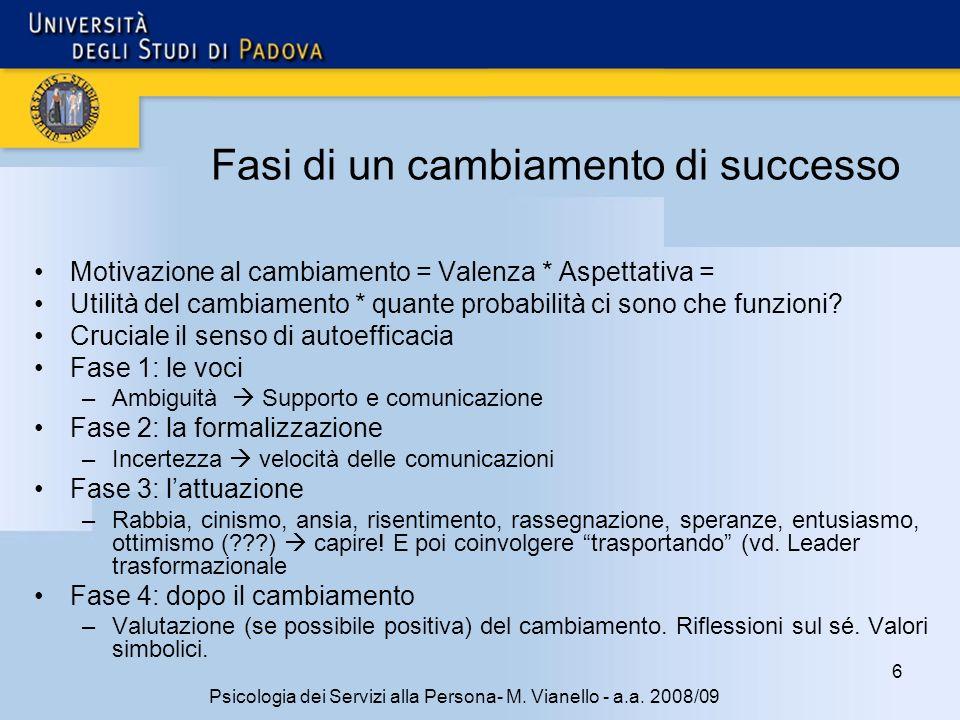 6 Psicologia dei Servizi alla Persona- M. Vianello - a.a. 2008/09 Fasi di un cambiamento di successo Motivazione al cambiamento = Valenza * Aspettativ