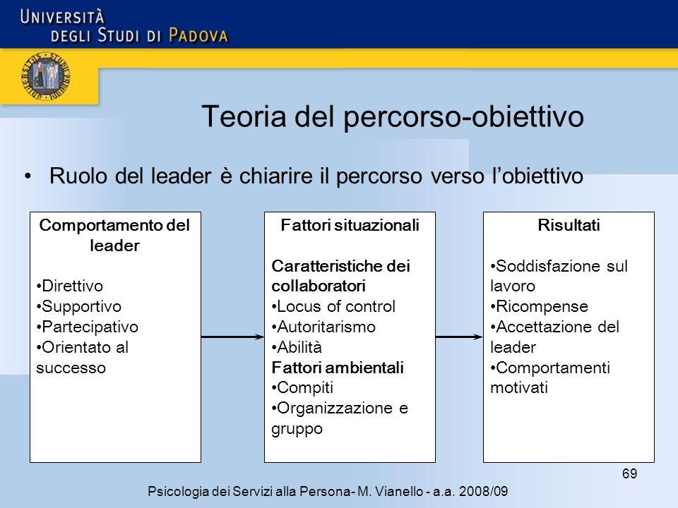 69 Psicologia dei Servizi alla Persona- M. Vianello - a.a. 2008/09 Teoria del percorso-obiettivo Ruolo del leader è chiarire il percorso verso lobiett