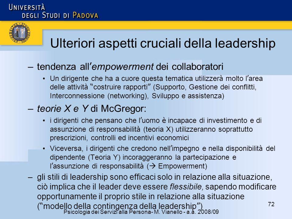 72 Psicologia dei Servizi alla Persona- M. Vianello - a.a. 2008/09 –tendenza all empowerment dei collaboratori Un dirigente che ha a cuore questa tema
