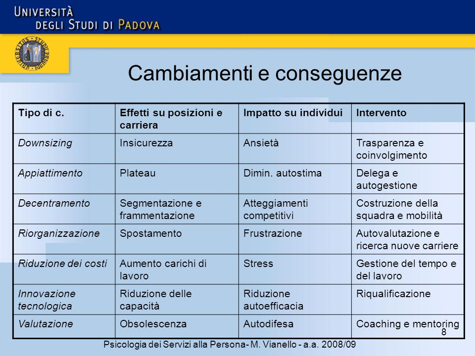 29 Psicologia dei Servizi alla Persona- M.Vianello - a.a.