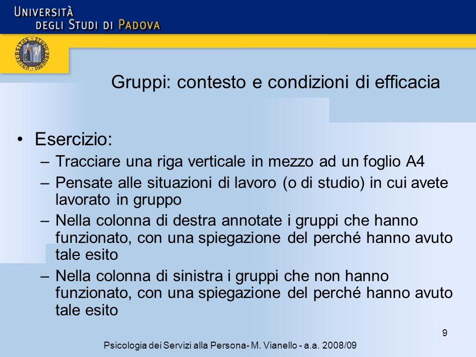 70 Psicologia dei Servizi alla Persona- M.Vianello - a.a.