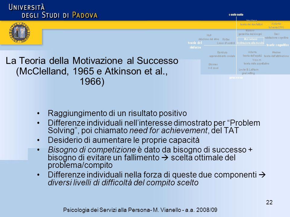 22 Psicologia dei Servizi alla Persona- M.Vianello - a.a.