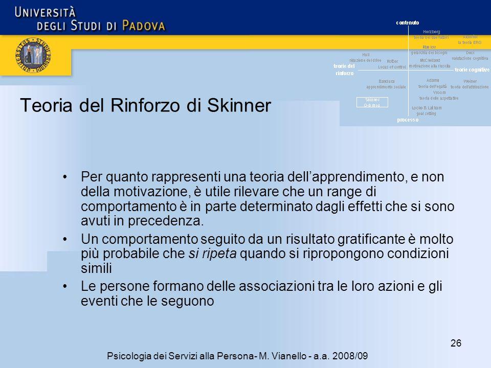 26 Psicologia dei Servizi alla Persona- M.Vianello - a.a.