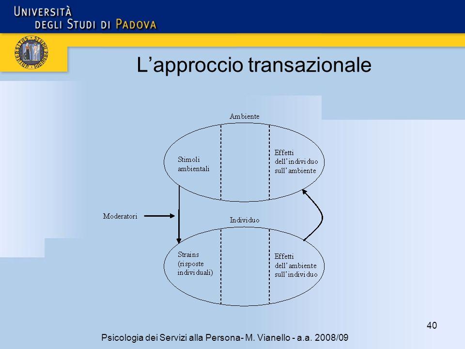 40 Psicologia dei Servizi alla Persona- M. Vianello - a.a. 2008/09 Lapproccio transazionale