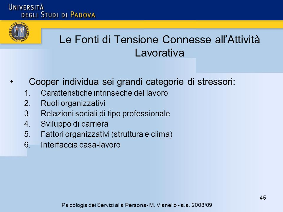 45 Psicologia dei Servizi alla Persona- M.Vianello - a.a.