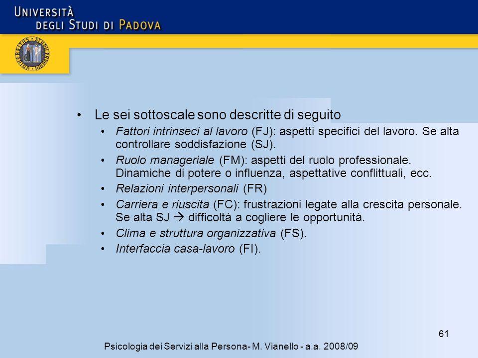 61 Psicologia dei Servizi alla Persona- M.Vianello - a.a.