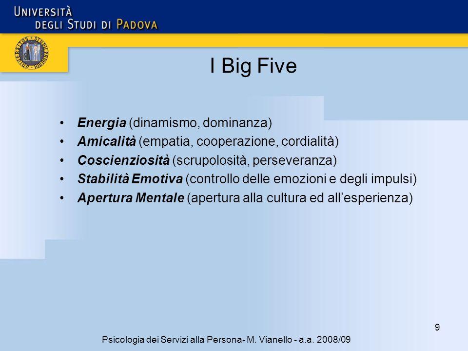 9 Psicologia dei Servizi alla Persona- M.Vianello - a.a.
