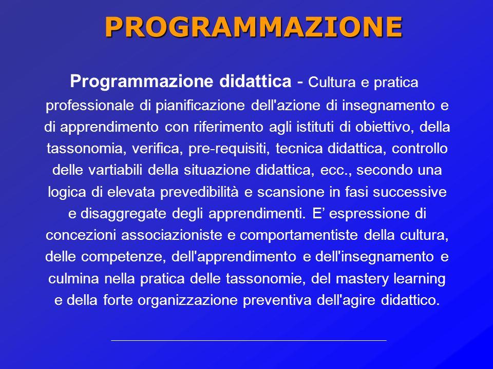 PROGETTAZIONE Progettazione didattica - Azione progettuale esercitata sulla didattica diretta (insegnamento) ed indiretta (organizzazione, predisposiz