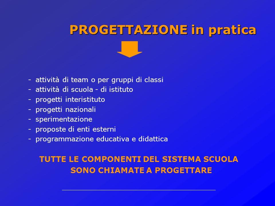 Sperimentazione Programmazione educativa e didattica Formazione professionale Valutazione dei percorsi di apprendimento Progettazione e gestione percorsi personalizzati o di gruppo PROGETTAZIONE a scuola