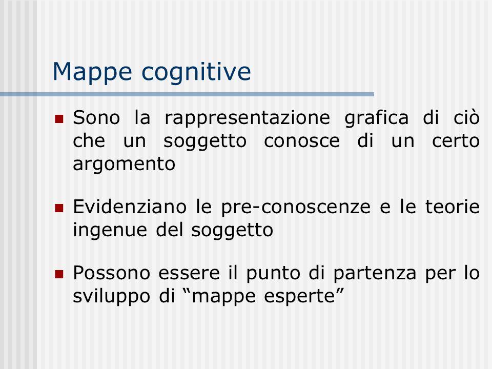 Mappe cognitive Sono la rappresentazione grafica di ciò che un soggetto conosce di un certo argomento Evidenziano le pre-conoscenze e le teorie ingenu