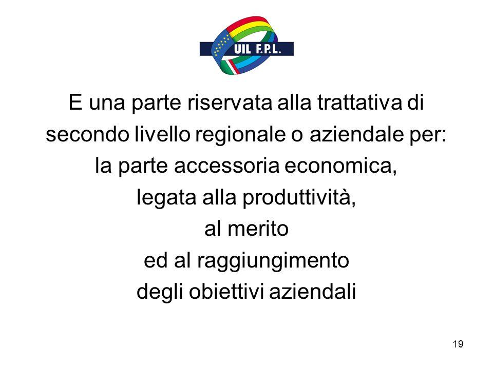 19 E una parte riservata alla trattativa di secondo livello regionale o aziendale per: la parte accessoria economica, legata alla produttività, al merito ed al raggiungimento degli obiettivi aziendali