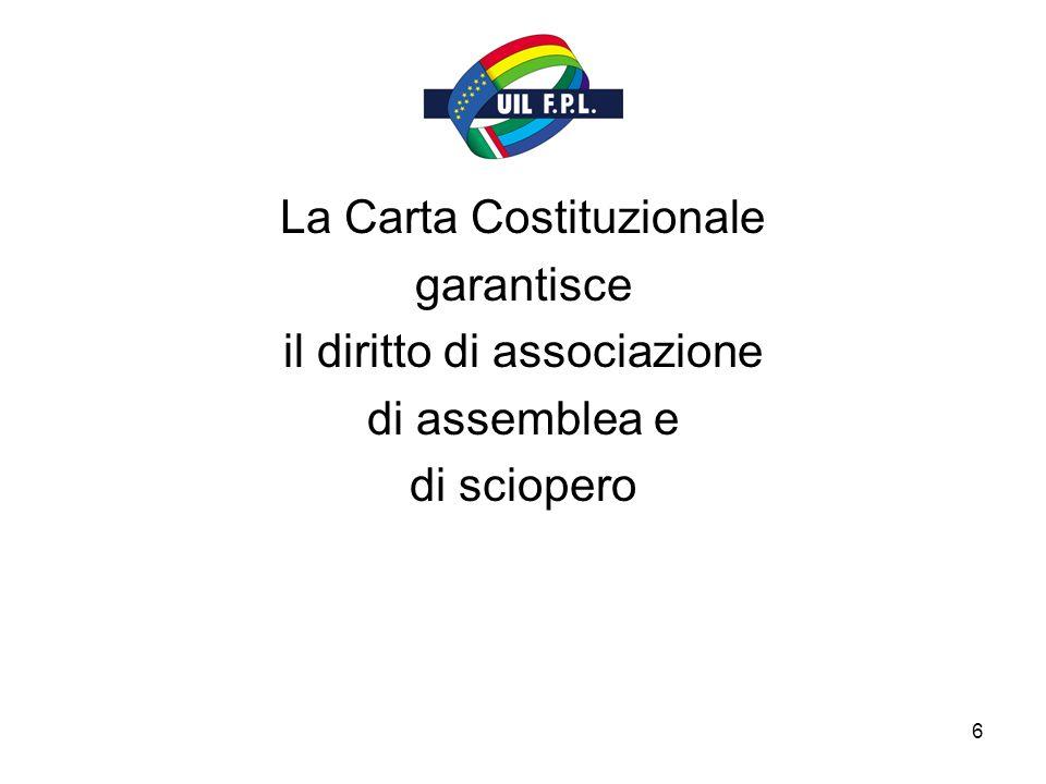 6 La Carta Costituzionale garantisce il diritto di associazione di assemblea e di sciopero