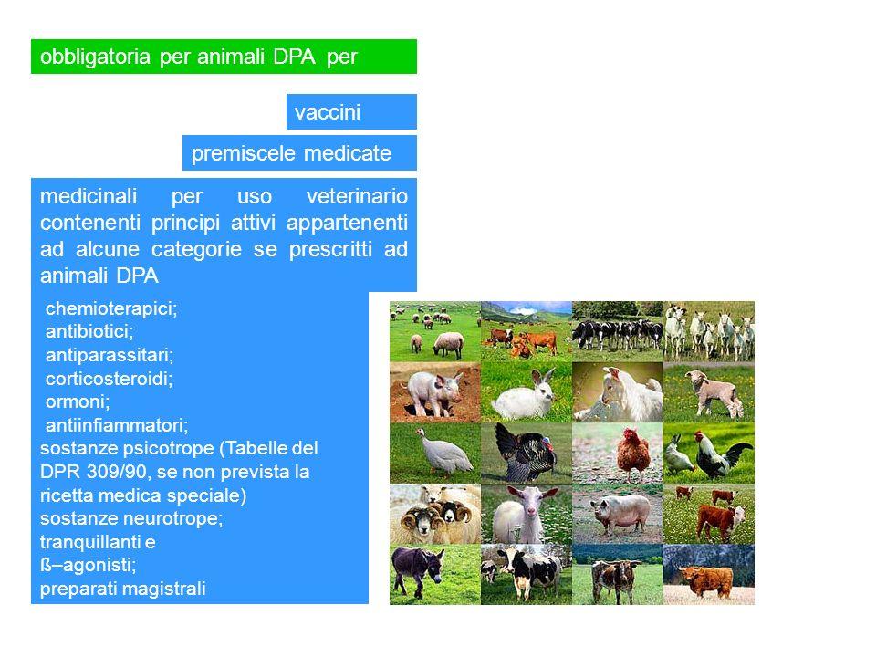 obbligatoria per animali DPA per vaccini premiscele medicate medicinali per uso veterinario contenenti principi attivi appartenenti ad alcune categori