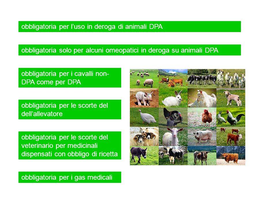 obbligatoria per luso in deroga di animali DPA obbligatoria per i cavalli non- DPA come per DPA obbligatoria solo per alcuni omeopatici in deroga su a