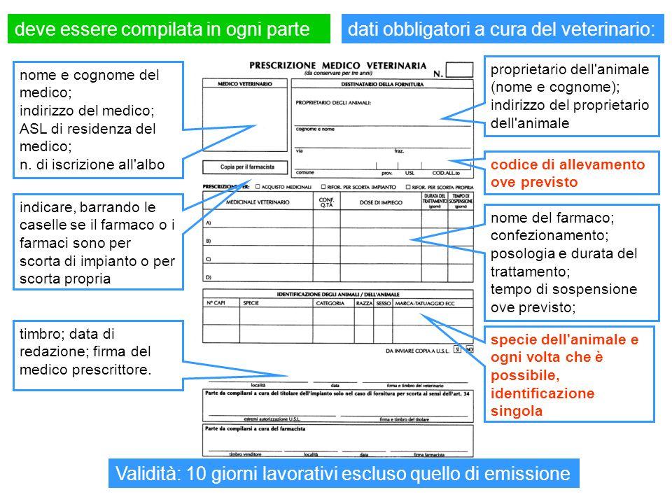 deve essere compilata in ogni partedati obbligatori a cura del veterinario: nome e cognome del medico; indirizzo del medico; ASL di residenza del medi