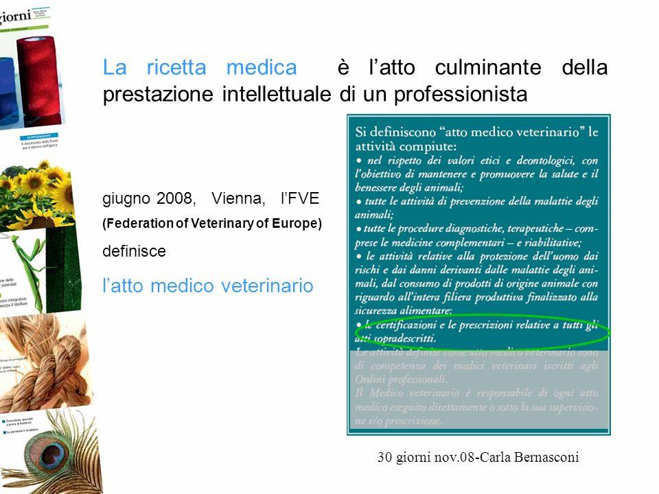 La ricetta medica è latto culminante della prestazione intellettuale di un professionista 30 giorni nov.08-Carla Bernasconi giugno 2008, Vienna, lFVE