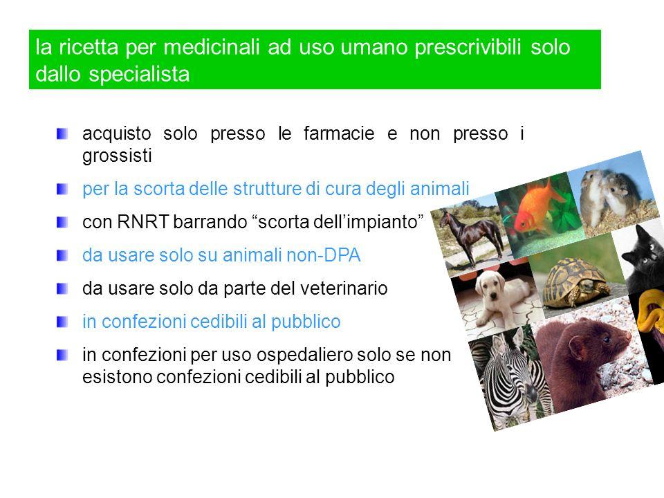 la ricetta per medicinali ad uso umano prescrivibili solo dallo specialista acquisto solo presso le farmacie e non presso i grossisti per la scorta de