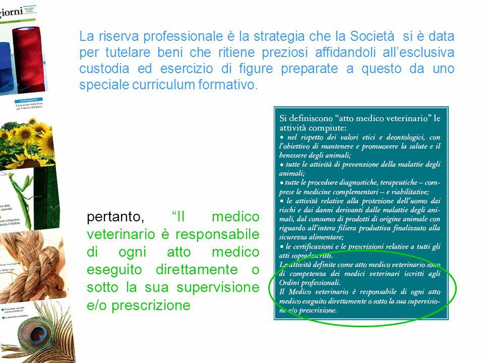 La riserva professionale è la strategia che la Società si è data per tutelare beni che ritiene preziosi affidandoli allesclusiva custodia ed esercizio