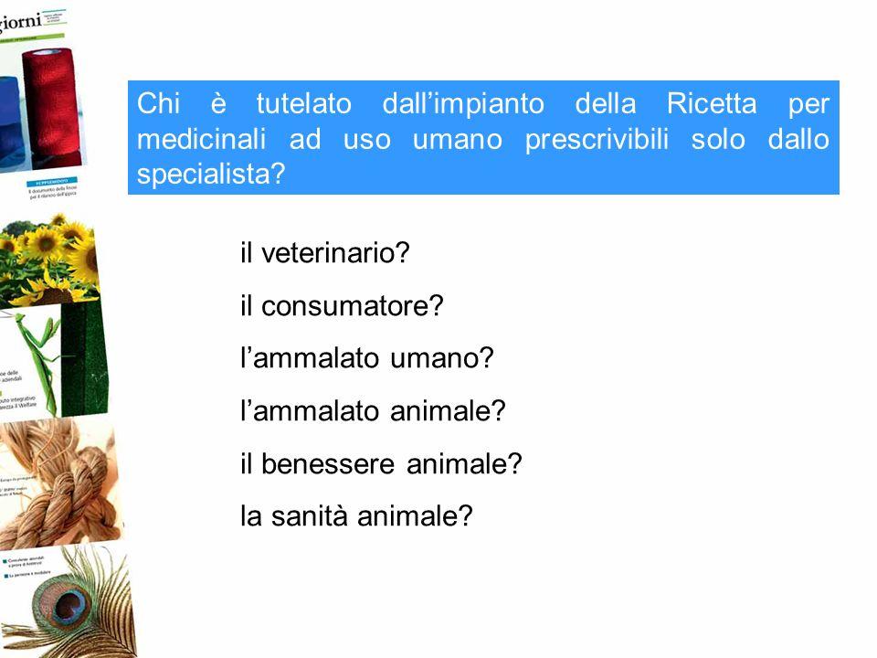 Chi è tutelato dallimpianto della Ricetta per medicinali ad uso umano prescrivibili solo dallo specialista? il veterinario? il consumatore? lammalato