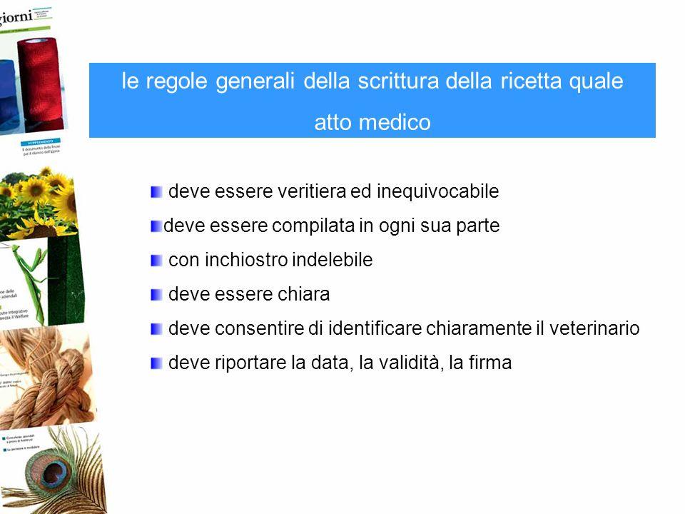 le regole generali della scrittura della ricetta quale atto medico deve essere veritiera ed inequivocabile deve essere compilata in ogni sua parte con