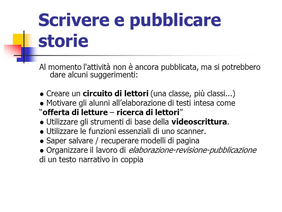 Scrivere e pubblicare storie Al momento l'attività non è ancora pubblicata, ma si potrebbero dare alcuni suggerimenti: Creare un circuito di lettori (