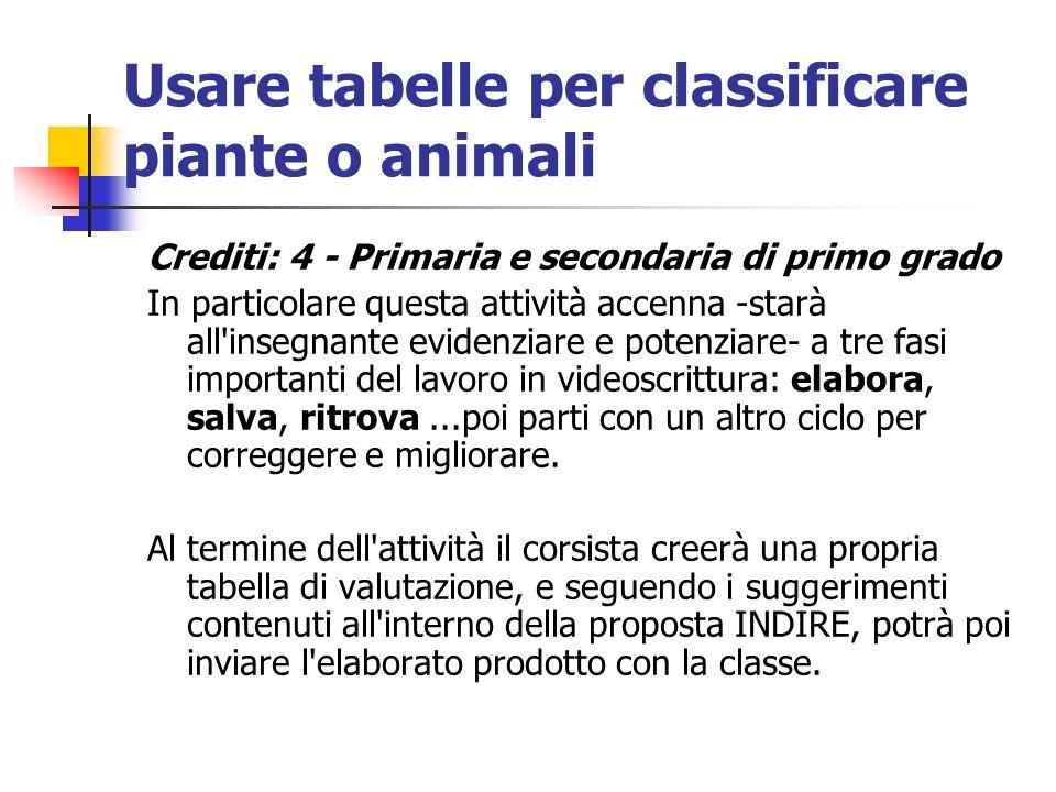 Usare tabelle per classificare piante o animali Crediti: 4 - Primaria e secondaria di primo grado In particolare questa attività accenna -starà all'in