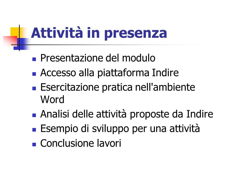 Attività in presenza Presentazione del modulo Accesso alla piattaforma Indire Esercitazione pratica nell'ambiente Word Analisi delle attività proposte