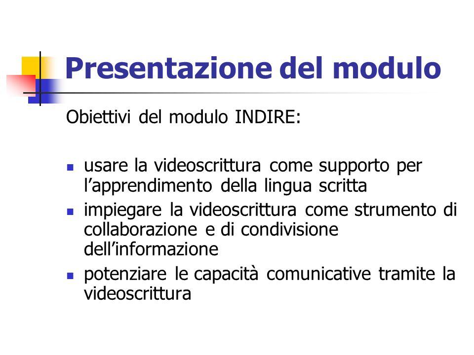 Presentazione del modulo Obiettivi del modulo INDIRE: usare la videoscrittura come supporto per lapprendimento della lingua scritta impiegare la video
