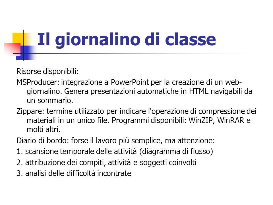 Il giornalino di classe Risorse disponibili: MSProducer: integrazione a PowerPoint per la creazione di un web- giornalino. Genera presentazioni automa