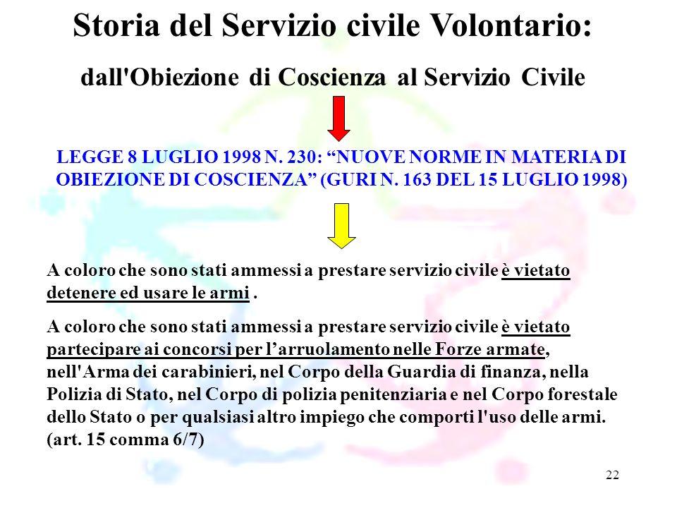 22 LEGGE 8 LUGLIO 1998 N. 230: NUOVE NORME IN MATERIA DI OBIEZIONE DI COSCIENZA (GURI N. 163 DEL 15 LUGLIO 1998) Storia del Servizio civile Volontario