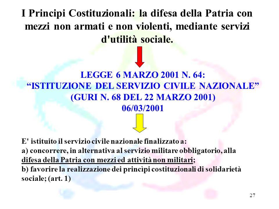 27 LEGGE 6 MARZO 2001 N. 64: ISTITUZIONE DEL SERVIZIO CIVILE NAZIONALE (GURI N. 68 DEL 22 MARZO 2001) 06/03/2001 I Principi Costituzionali: la difesa