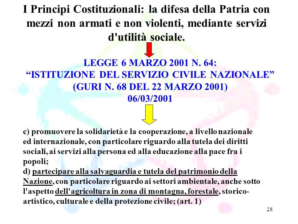 28 LEGGE 6 MARZO 2001 N. 64: ISTITUZIONE DEL SERVIZIO CIVILE NAZIONALE (GURI N. 68 DEL 22 MARZO 2001) 06/03/2001 I Principi Costituzionali: la difesa