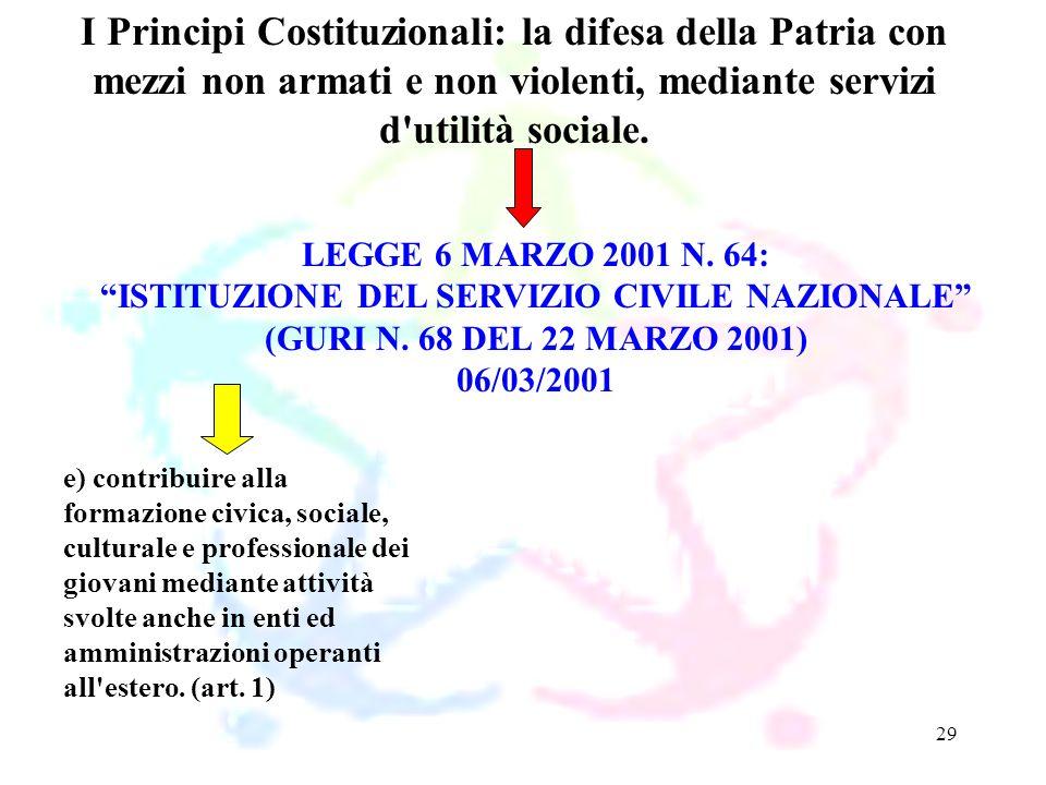 29 LEGGE 6 MARZO 2001 N. 64: ISTITUZIONE DEL SERVIZIO CIVILE NAZIONALE (GURI N. 68 DEL 22 MARZO 2001) 06/03/2001 I Principi Costituzionali: la difesa