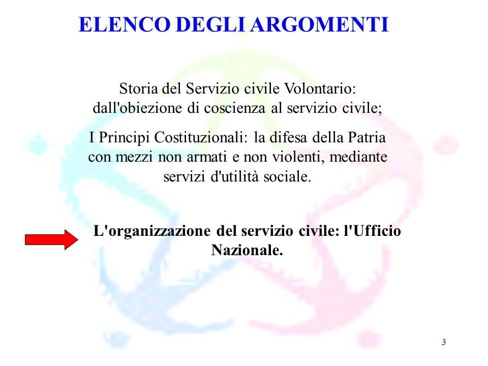 3 ELENCO DEGLI ARGOMENTI Storia del Servizio civile Volontario: dall'obiezione di coscienza al servizio civile; I Principi Costituzionali: la difesa d