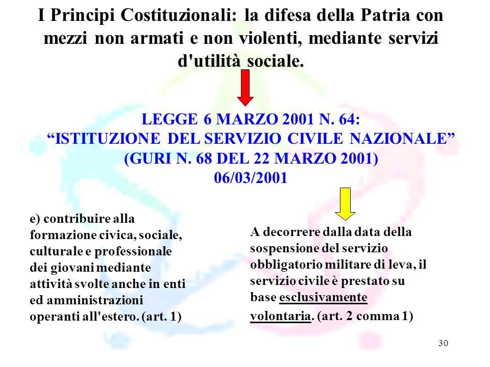 30 LEGGE 6 MARZO 2001 N. 64: ISTITUZIONE DEL SERVIZIO CIVILE NAZIONALE (GURI N. 68 DEL 22 MARZO 2001) 06/03/2001 I Principi Costituzionali: la difesa