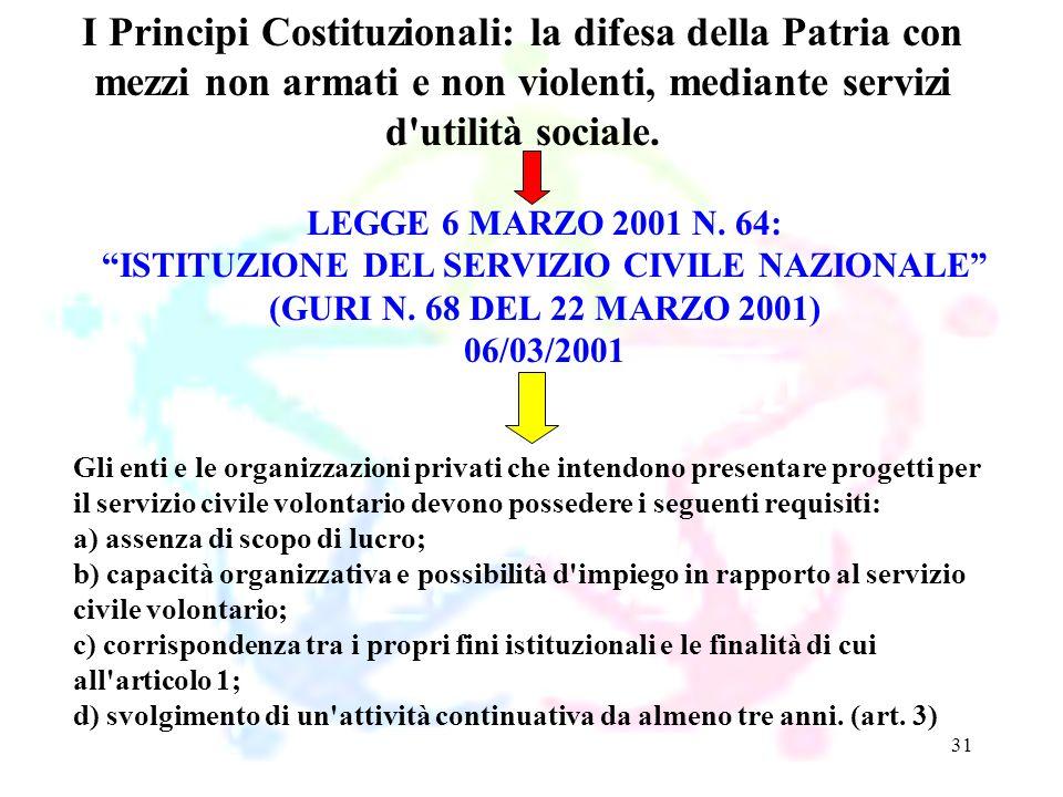 31 LEGGE 6 MARZO 2001 N. 64: ISTITUZIONE DEL SERVIZIO CIVILE NAZIONALE (GURI N. 68 DEL 22 MARZO 2001) 06/03/2001 I Principi Costituzionali: la difesa