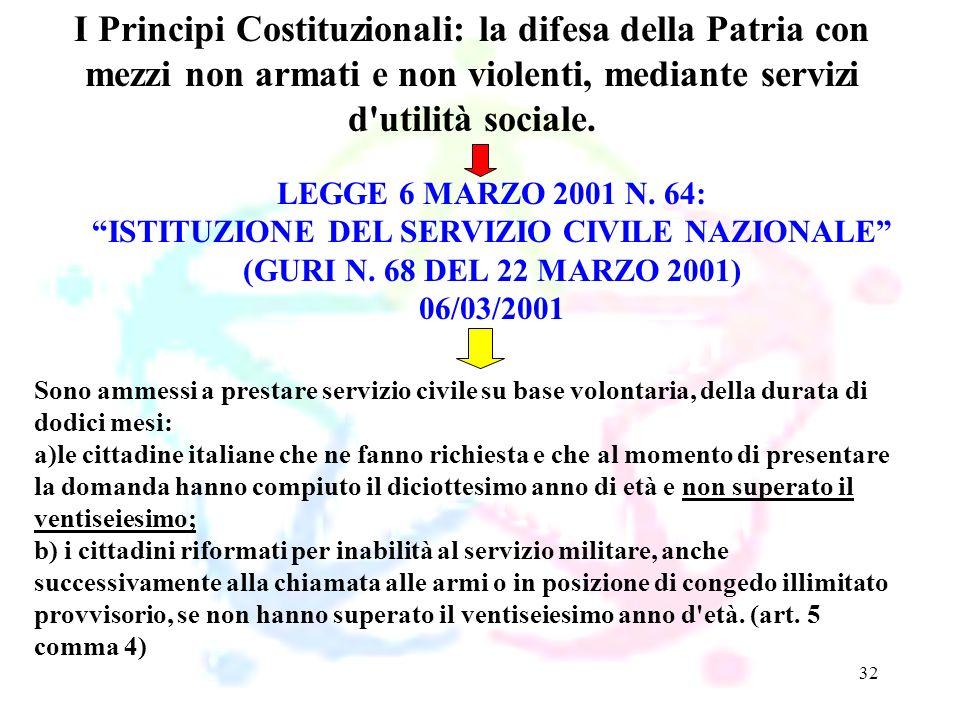 32 LEGGE 6 MARZO 2001 N. 64: ISTITUZIONE DEL SERVIZIO CIVILE NAZIONALE (GURI N. 68 DEL 22 MARZO 2001) 06/03/2001 I Principi Costituzionali: la difesa
