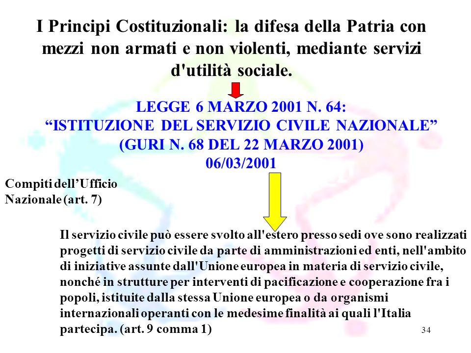 34 LEGGE 6 MARZO 2001 N. 64: ISTITUZIONE DEL SERVIZIO CIVILE NAZIONALE (GURI N. 68 DEL 22 MARZO 2001) 06/03/2001 I Principi Costituzionali: la difesa