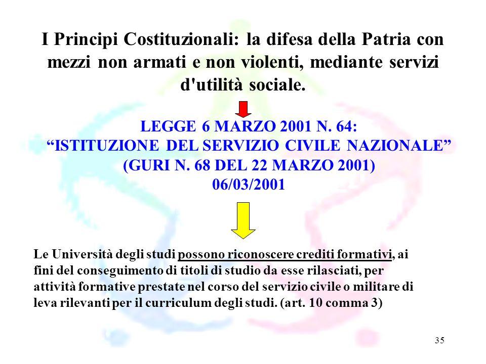 35 LEGGE 6 MARZO 2001 N. 64: ISTITUZIONE DEL SERVIZIO CIVILE NAZIONALE (GURI N. 68 DEL 22 MARZO 2001) 06/03/2001 I Principi Costituzionali: la difesa