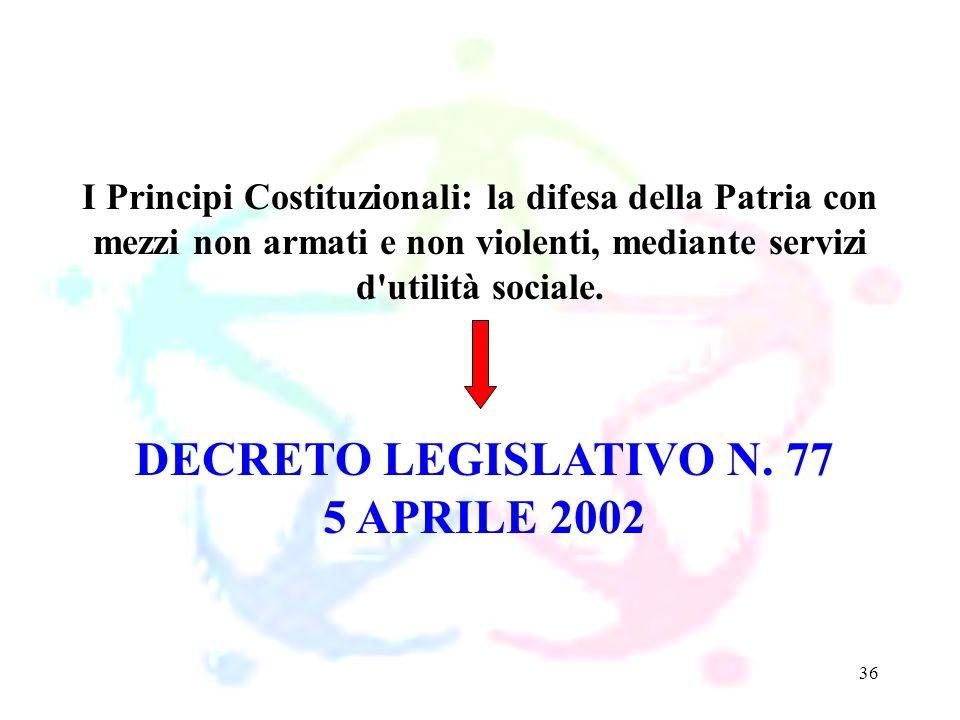 36 DECRETO LEGISLATIVO N. 77 5 APRILE 2002 I Principi Costituzionali: la difesa della Patria con mezzi non armati e non violenti, mediante servizi d'u