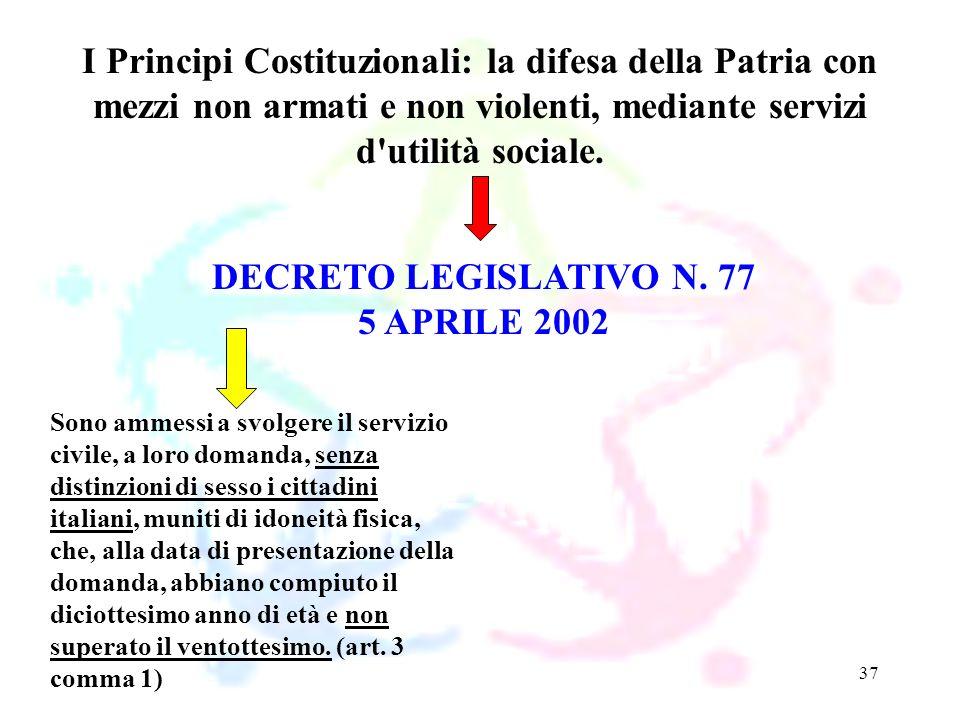 37 DECRETO LEGISLATIVO N. 77 5 APRILE 2002 I Principi Costituzionali: la difesa della Patria con mezzi non armati e non violenti, mediante servizi d'u
