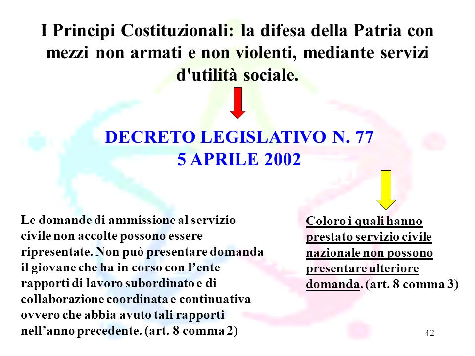 42 DECRETO LEGISLATIVO N. 77 5 APRILE 2002 I Principi Costituzionali: la difesa della Patria con mezzi non armati e non violenti, mediante servizi d'u