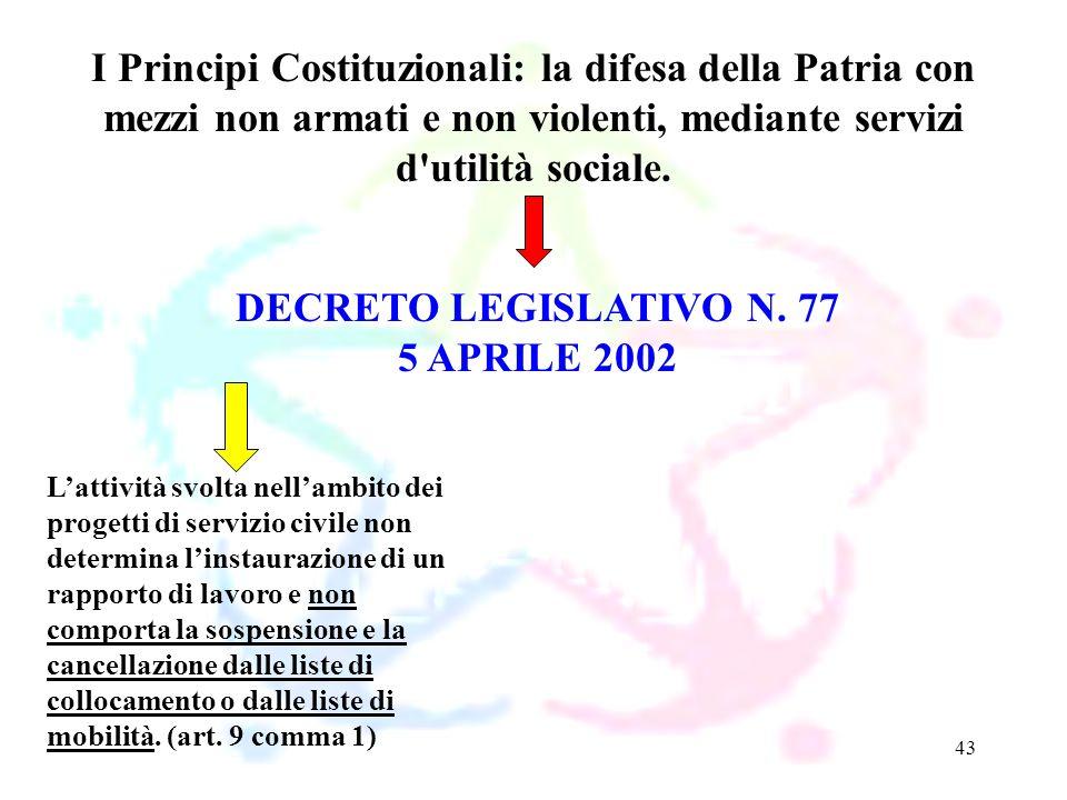 43 DECRETO LEGISLATIVO N. 77 5 APRILE 2002 I Principi Costituzionali: la difesa della Patria con mezzi non armati e non violenti, mediante servizi d'u