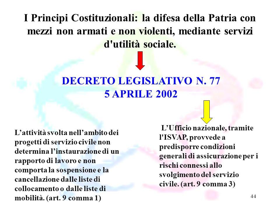 44 DECRETO LEGISLATIVO N. 77 5 APRILE 2002 I Principi Costituzionali: la difesa della Patria con mezzi non armati e non violenti, mediante servizi d'u