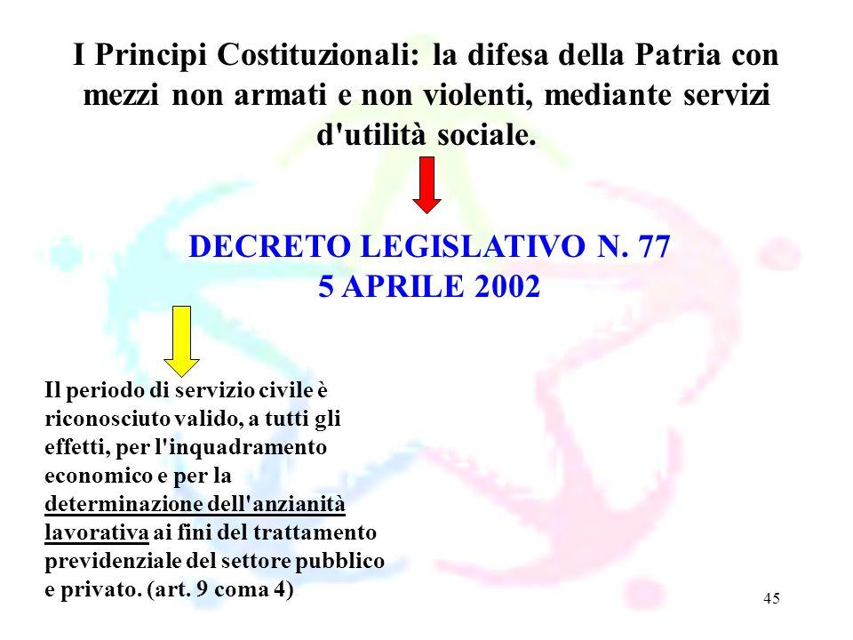 45 DECRETO LEGISLATIVO N. 77 5 APRILE 2002 I Principi Costituzionali: la difesa della Patria con mezzi non armati e non violenti, mediante servizi d'u
