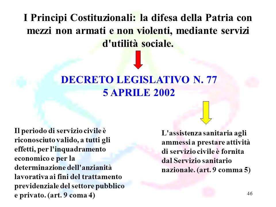 46 DECRETO LEGISLATIVO N. 77 5 APRILE 2002 I Principi Costituzionali: la difesa della Patria con mezzi non armati e non violenti, mediante servizi d'u