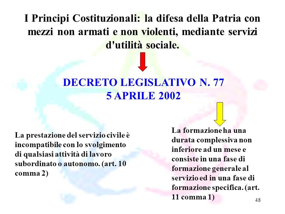 48 DECRETO LEGISLATIVO N. 77 5 APRILE 2002 I Principi Costituzionali: la difesa della Patria con mezzi non armati e non violenti, mediante servizi d'u